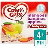 Vache Et Porte Les Mangues, Les Bananes, Les Pommes Et Riz Bébé Fruits Pots 4 X 100G - Paquet de 4