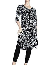 Apartes Tunika Kleid floraler Print schwarz-weiß