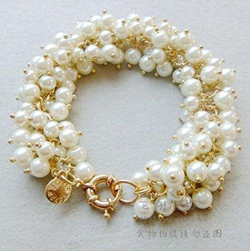Zoll-glas-perlen 2 (Glas Perle auf der Golden Spike Armband Europäische und amerikanische Schmuck Mode Perle Armband Handmade Bracelet)