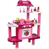 Popsugar Luxury Kitchen Set with Dishwasher, Washing Machine, Stove and Accessories for Kids, Pink