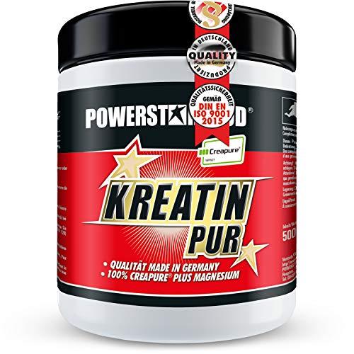 KREATIN PUR - 500g - reinstes Monohydrat Pulver - CREAPURE® höchster Qualitätsstufe, stärkster Muskelbooster - mehr Maximalpower, Ausdauer & erhöhtes Muskelwachstum - Vegan - Made in Germany