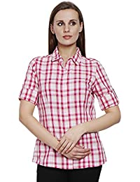 Bombay High Women's 100% Cotton Rollup Sleeves Casual Checks Shirt