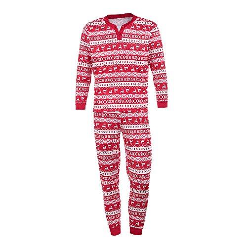 wäsche Schlafanzug,Weihnachten Pyjama Paar Familie Passend Frauen Weihnachtsdruck Herren Langarm Christmas Bluse Hose Set RundhalsLang Hosenanzug Sleepwear (XL, Rot Herren) (Kindern Passende Weihnachts Pyjamas)