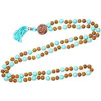 Mogul Interior Turquoise Chakra Mala Beads Buddhist Japamala Necklace Yoga Jewelry
