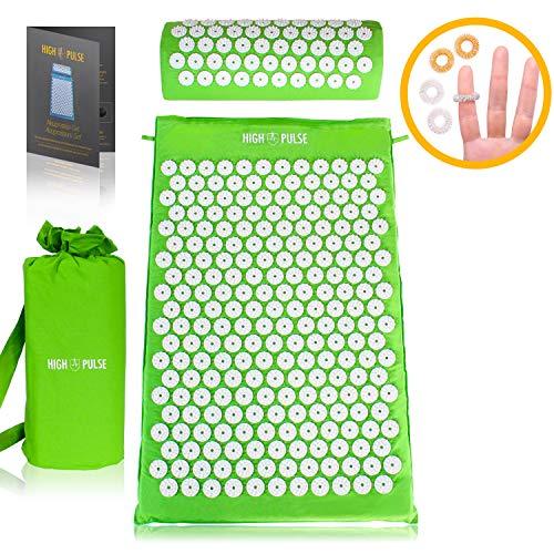 High Pulse Akupressur Set + Tasche + Poster - Akupressurmatte & Kissen stimuliert die Blutzirkulation und löst Verspannungen (Grün)