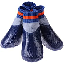 Perro impermeable Recubrimiento Elevación del perro casero de lluvia nieve deporte Botas Calcetines 1 juego (4 piezas)