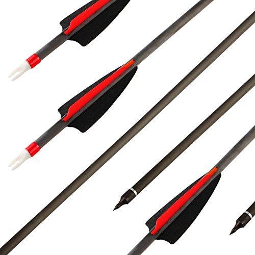 VERY100 Bogen Pfeile Carbon 31 Zoll Pfeile für Bogenschießen, 3D Jagdpfeile für Bogen Traditionellen Bogen Recurvebogen und Langbogen