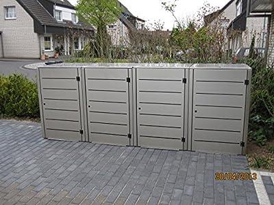 Mülltonnenbox Edelstahl, Modell Eleganza Line 120 Liter als Viererbox