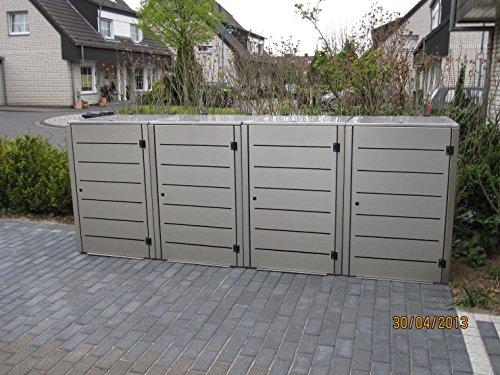 Mülltonnenbox, Modell Eleganza, mit waagerechten Schlitzen in der Tür, für vier 120 Liter Müllbehälter