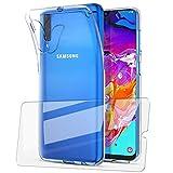 UCMDA Coque pour Samsung Galaxy A70 + Verre trempé écran Protecteur, Souple Transparente TPU Etui Housse + Film Protection d'Écran en Verre Trempé pour Samsung Galaxy A70