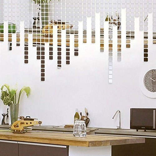 Walplus Mirror Wall Art  Mosaics  Wall Stickers Removable Self-Adhesive Mural Decals Vinyl Home Decoration DIY Living Bedroom Office Décor Kids Room, Silver