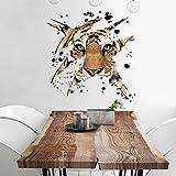 ZYHY3d - Tiger Kopf fahrbare Schlafzimmer Wohnzimmer dekorative Wasserdichte Wand 45 * 45