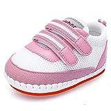 DELEBAO Babyschuhe Baby Turnschuhe Krabbelschuhe Mesh Atmungsaktiv Baby Schuhe mit Weicher und Rutschfester Sohle für Kleinkind und Kinder (Pink,3-6 Monate)