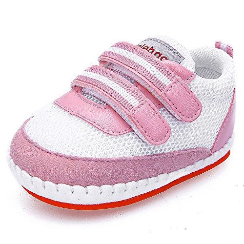 DELEBAO Scarpe Bambina Sneakers Bimba Scarpe Primi Passi Morbide Suola Antiscivolo Scarpe da Neonato Traspirante Filato Netto Scarpe per Ragazze (Rosa,18-24 Mesi)