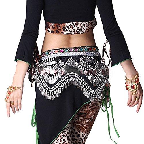 Dance Accessories Tribal Danse du ventre costume Hip écharpe With Bead Coins Hip jupe Costume Black