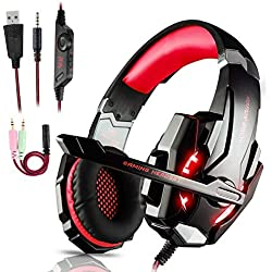 Igrome Micro Casque Gaming PS4, Casque Gamer LED Casque Audio Filaire Audio Stéréo Bass Anti-Bruit 3.5mm Jack Compatible PS4/ Xbox One/PC/Mac/Nintendo Switch/Ordinateur/Tablette/Laptop/Smartphone