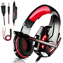 Auriculares Gaming PS4,Cascos Gaming, Auriculares Cascos Gaming de Mac Estéreo con Micrófono Juego Gaming Headset con 3.5mm Jack Luz LED Bajo Ruido Compatible con PC/Xbox One/Nintendo Switch