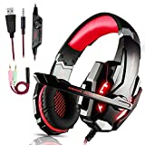 Cuffie da Gioco Gaming per PS4, Standard 3.5mm Jack LED Cuffie da Gaming con Microfono Bass Stereo e Controllo Volume Gaming Headset per PS4 pro/Xbox One X/Xbox One S/Nintendo Switch/PC/Laptop/Tablet