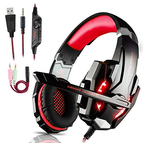 Auriculares Gaming PS4,Cascos Gaming, Auriculares Cascos Gaming de Mac Estéreo con Micrófono Juego Gaming Headset con 3.5mm Jack Luz LED Bajo Ruido Compatible con PC/Xbox One/Nintendo Switch(Rojo)