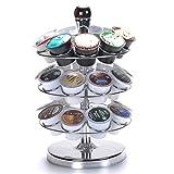 MaxTronic, porta capsule Dolce Gusto, supporto rotante per 27capsule per caffè, porta cialde di caffé rotante, organiser capsule, finitura cromata