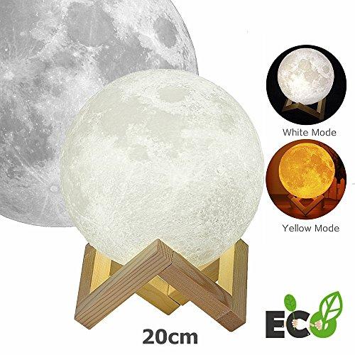 t , Morbuy Nacht Licht Beleuchtung LED 3D Druck Warme Mond Lampe Farben Dimmbar Helligkeits-Anpassung Beste Hauptdekorative und romantisches Geschenk (20cm /7.87inch) ()
