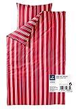 TCM Tchibo Jersey Bettwäsche Garnitur 2tlg. Blau od. Rot gestreift ÜG 155 x 220 cm (Rot-weiß gestreift)