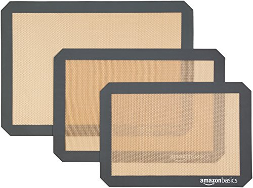 AmazonBasics - Tapete de silicona para hornear, juego de 3 unidades