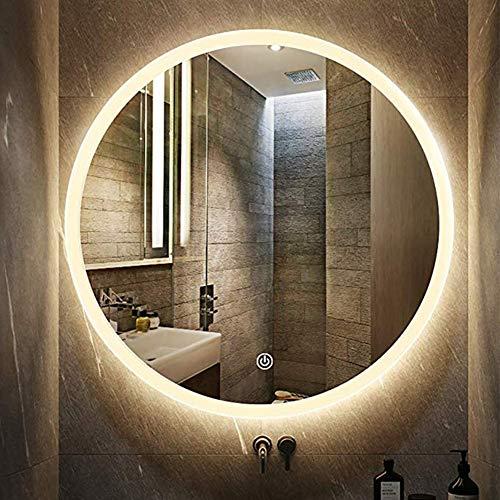 LED beleuchteter Badezimmerspiegel, runder moderner Touch-Wandspiegel, nebelfreier Schminkspiegel mit Hintergrundbeleuchtung über kosmetischem Waschbecken (mehrere Größen) -