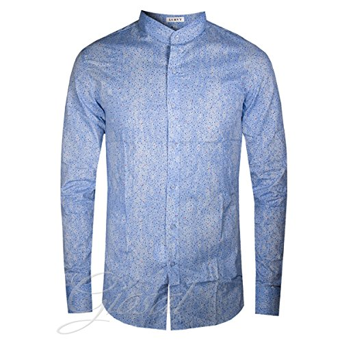 Camicia uomo collo coreano fantasia pois bottoni due colori azzurra celeste casual giosal-azzurro-l