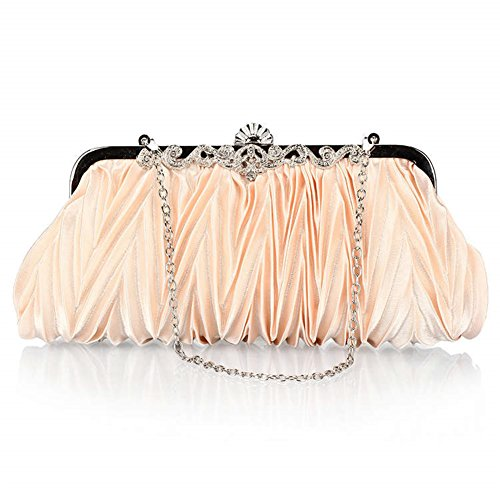 ERGEOB® Donna Clutch sacchetto di sera borsetta Clutch piccola rasotaschino Banchetto taschino matrimonio taschino Borsa della sposa colore champagne