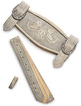 Hosenträger Klassik - Echtleder H-Träger Lederhosen Hosenträger grau Antik