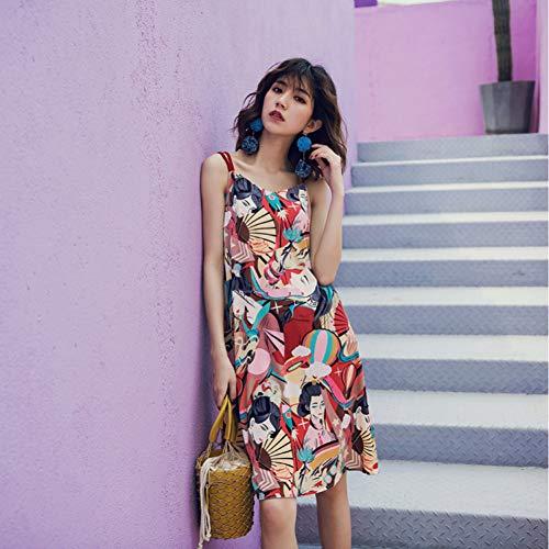Sexy Designer Kleider (DRLVMO Fashion Runway Designer Kleid Frauen Sexy Kühlen Strap Floral Charakter Gedruckt Gerade Kleid Party Kleider Sommer)