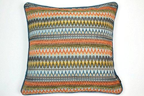 Grosser Orange Teal texturiert Chenille Polster, Kissen mit Polyester Füller, geometrisch, 50cm x 50cm. Bei McAlister Textiles, von der Curitiba Design Range. (Teal Design Interior)