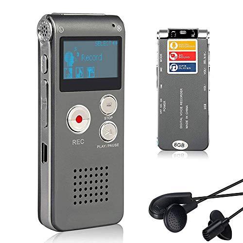 Lychee Professionale Registratore Vocale Digitale Portatile, 1536kbps,8 GB Multifunzionale USB Digital Audio Voice Recorder con Lettore MP3 (Argento Grigio)
