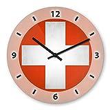 Wanduhr mit Motiv - Schweiz Flagge - aus Echt-Glas   runde Küchen-Uhr   große Uhr modern