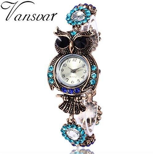 Yogogo Damen Vintage Eule Armband Quartz Analog , 1 Cent Artikel | Armbanduhr | Dekoration | Geschenk | Alugehäuse | Quarzwerk | 8.8mm Gehäusedicke | 24CM Bandlänge (Bunt A)