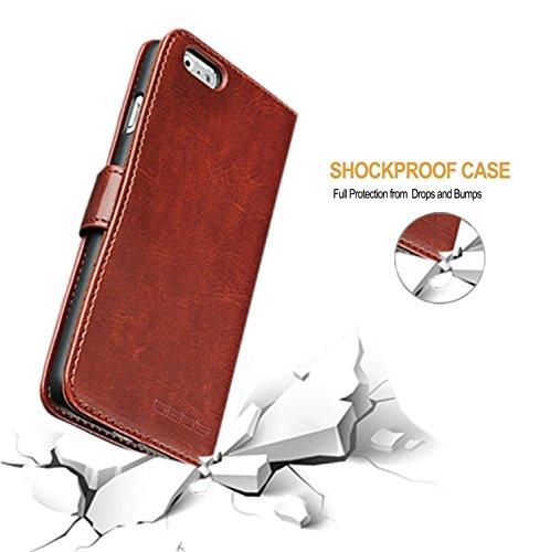 GBOS® marron Rich Leather Support Wallet Tongues Case Cover For APPLE IPHONE 8 PLUS (fabriqué spécialement - Qualité Premium) Antique Leather Case Marron