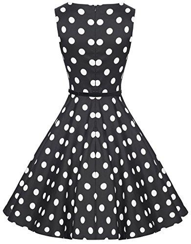 Zarlena Damen Vintage Rockabilly Kleid Petticoat Cocktailkleid Schwarz mit weissen Dots