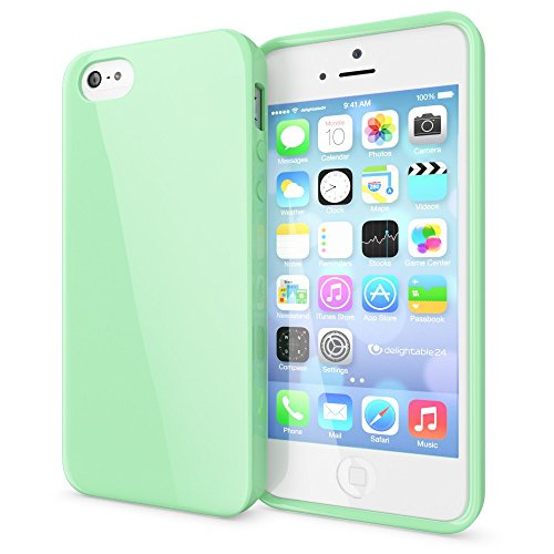 e Handyhülle von NICA, Ultra-Slim TPU Silikon Jelly Case, Dünnes Cover Gummi Schutzhülle Skin, Etui Handy-Tasche Backcover Bumper für Apple iPhone 5 5S SE Phone - Mint Grün (Mint Grün Rosen)