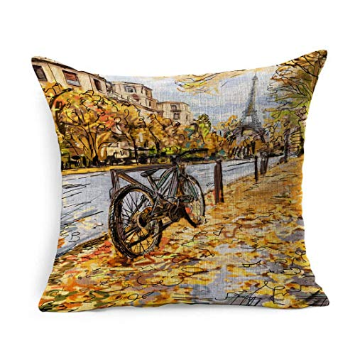 Leinen Throw Pillow Cover Square Stadtbild Szene Straße Herbst Paris Eiffel Travel Tower Skizze schwarz gebaute Stadt Frankreich Kissenbezug Home Decor Kissen Fall 18 x 18 Zoll