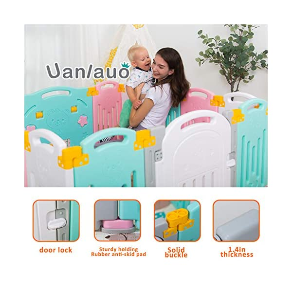 Foldable Baby Playpen Kids Activity Centre Safety Play Yard Home Indoor Outdoor New Version Uanlauo MOM'S LIFESAVER: Keep baby safe in there play centre when mom/dad needs to cook, clean up, go to the bathroom, etc. Foldable & Easy Packing: Designed with a simple fold and go deign. Easy to set up and take down within seconds.Convenient both indoor and outdoors. STURDY HOLDING: Specially designed rubber feet underneath of the yard so the parts don't go sliding around. 2