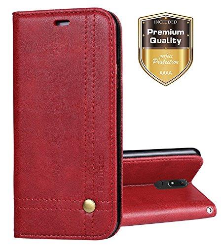 Wiko View XL Hülle, Ferlinso Elegantes Retro Leder mit Identifikation Kreditkarte Schlitz Halter Schlag Abdeckungs Standplatz magnetischer Verschluss Kasten für Wiko View XL (Rot)