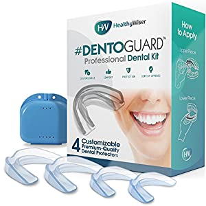 DentoGuard Mundschutz – Von Zahnärzten empfohlener Zahnschutz, bietet Erleichterung bei Bruxismus, TMJ & Zähneknirschen. Fördert die Entspannung des Kiefergelenks – Gute Passform, BPA-frei – 4 Stück