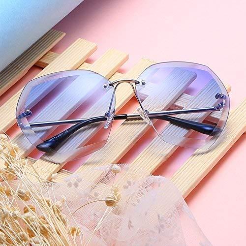 Bestehen Sie immer auf Erfolg Randlose Sonnenbrille Retro ovale Sonnenbrille transparente Sonnenbrille UV-Schutz für Männer und Frauen (Color : Blue)