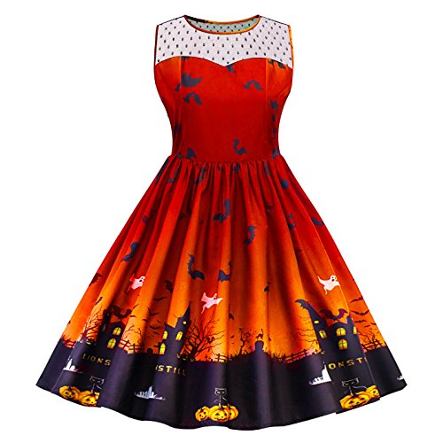 SIMYJOY Damen Retro A-Linie Ohne Arm Halloween Kürbis Swing Kleider Skater Kleider für Party Cocktail Kostüm und Parade Orange (M &m Orange Kostüm)