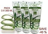 Gel Puro di Aloe Vera Fresca (Pack 3x200 ml). - Dopo la rasatura e la depilazione - Idratante Viso e Corpo - bleumarine Bretania