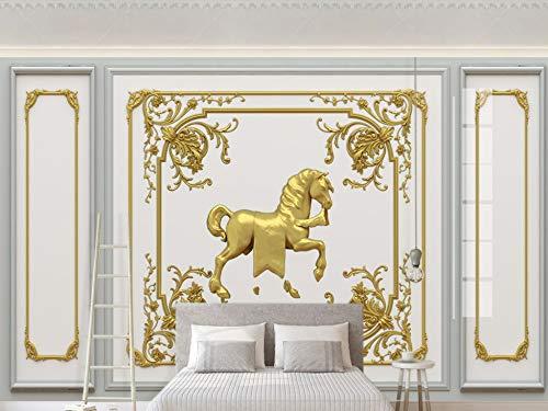 e Größe 3D Stereo Pferd Europäische Geschnitzte Goldene Dekorative Gitter Tv Hintergrund Wand Kunst Wohnkultur Tapete Wandbild ()