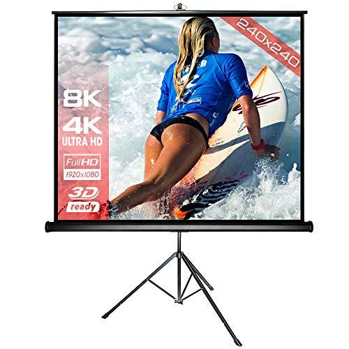 Alphavision SlenderLine mobile Stativleinwand 240 x 240 cm (345cm Bilddiagonale / 135 Zoll) Beamer Leinwand inkl. Ständer - stabile Ausführung - Formate 1:1/4:3/16:9