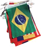 2014 Brazil World Cup Fabric Bunting- All 32 Flags 9 Metres (Flag size: 14cm x 21cm)