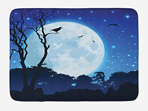CHKWYN Birds Bath Mat, Forest Landscape Image with Ravens on Barren Trees Full Moon Starry Sky, Plush Bathroom Decor Mat with Non Slip Backing, 23.6 W X 15.7 W Inches, Night Blue Black White